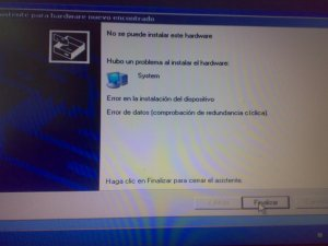 windows XP system install unable