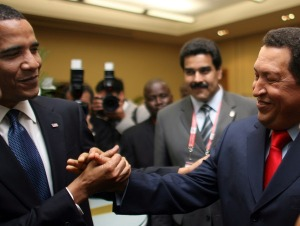 Obama and Hugo Chavez