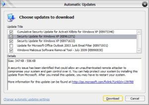 microsoft update xpsp3 july 2009